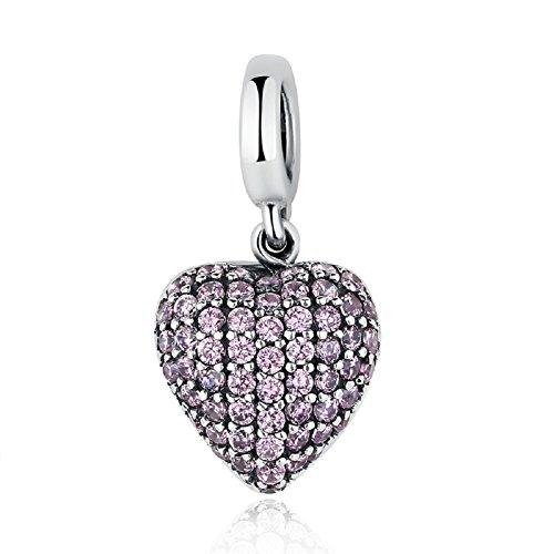 Regalo ideale per san valentino love cuore rosa zirconi in argento sterling 925ciondoli per collane bracciali da chengmen gioielli