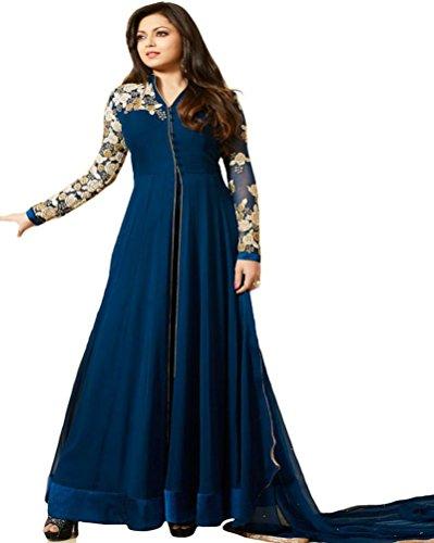 Market Magic World Women's Soft Net Semi stitched Anarkali Salwar Suits Sets (Free Size_ Blue _Dress_MMW2250)