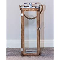 Sue Ryder Large Sized Rustic Wooden and Chrome Candle Holder Floor Lantern with Rope Handles Garden Indoor Outdoor