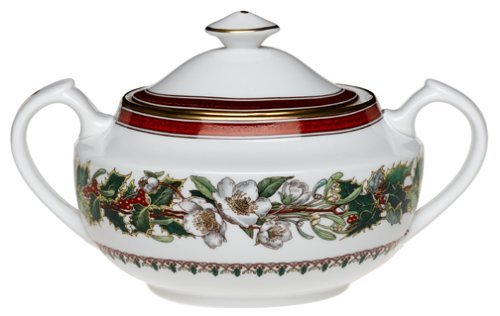 Spode Christmas Rose Covered Sugar Bowl by Royal Worcester -