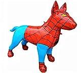 Antikes Wohndesign Lebensgroßer Bullterrier Lack Design Modern Art Pittbull Terrier Bully Höhe: 83cm Spiderman Edition