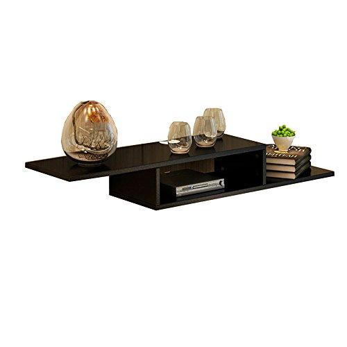 Shelves Duo Bücherregal 2 Tier Wandhalterung Floating Regal TV-Konsole für Kabel-Boxen/Router / Remotes/DVD-Player/Spielkonsolen Hängeregal, (Farbe : SCHWARZ) -