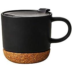 1PCS Conjuntos de tazas de café Tazas de cerámica con corcho aislado y tapa a prueba de salpicaduras Tapa Tapa de corcho única Diseño elegante adecuado para viajes de oficina en el hogar 13.5 oz Negro