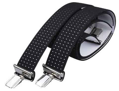 X Hosenträger mit 4 extra starken Clips 3,5cm breit für Damen und Herren in schwarz mit weißen Punkten - Style 11