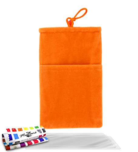 Flip-Case APPLE IPHONE 5 [Le Jelly Glass Premium] [Bonbonrosa] von MUZZANO + STIFT und MICROFASERTUCH MUZZANO® GRATIS - Das ULTIMATIVE, ELEGANTE UND LANGLEBIGE Schutz-Case für Ihr APPLE IPHONE 5 Orangefarben + 3 Displayschutzfolien