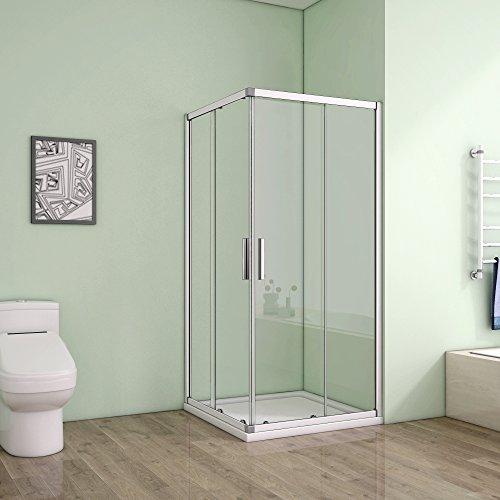 80 x 80 x 185 cm Duschkabine Schiebetür Eckeinstieg Duschabtrennung Duschwand aus 5mm ESG Sicherheitsglas Klarglas ohne Duschtasse