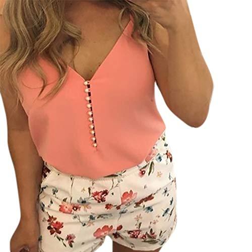 Lazzboy Donna Camis Top Buttons Gilet Senza Maniche Tank Cmisole Taglia 36-44 Plain Blouse Camicione Slouch(S(40),Arancia)
