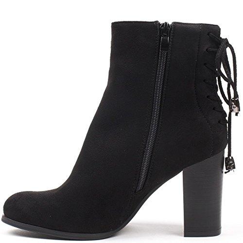 Ideal Shoes - Bottines montantes effet daim avec lacets à l'arrière Meane Noir