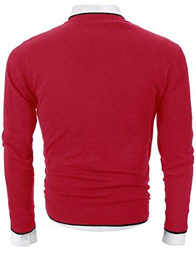 Mocotono Herren Strickpullover Sweatshirts Langarmshirt V-Ausschnitt Rot 1