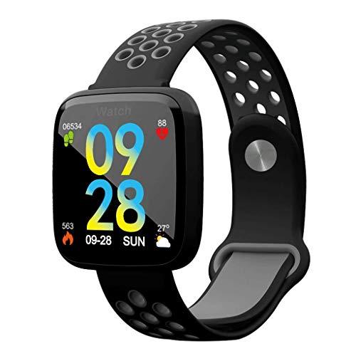 Mjd Smart Armband Smart-Armband mit großem Bildschirm, 1,3-Zoll-Farbbildschirm, Sportarmband, wasserdichte Herzfrequenz-IP67-Blutdrucküberwachung, intelligente Uhr Schlafmonitor (Color : Black) -