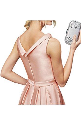 La_Marie Braut Wunderschoen Satin Abendkleider Abiballkleider Abschlussballkleider Lang A-linie Neuheit Rosa
