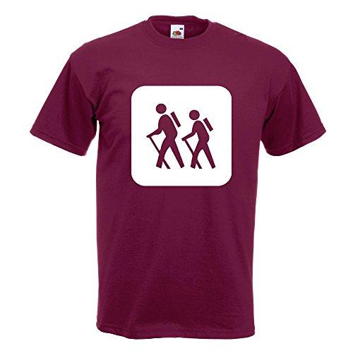 KIWISTAR - Wanderer Piktogramm - Spaziergänger T-Shirt in 15 verschiedenen Farben - Herren Funshirt bedruckt Design Sprüche Spruch Motive Oberteil Baumwolle Print Größe S M L XL XXL Burgund
