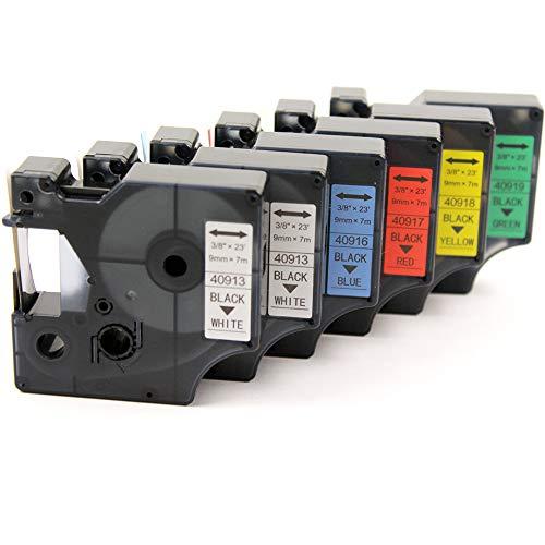 Puro Grün (Pure-Color 6 Stück Ersatz für Dymo 40913 40916 40917 40918 40919 Etikettenband Schwarz auf Weiß/Blau/Rot/Gelb/Grün Etikettenkassette Kompatibel für LabelManager LM 160 210D 280 PnP Drucker)