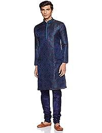 Manyavar Men's Full Sleeve Regular Fit Desinger Kurta & Churidar Set