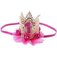 AJOYCN Fiesta de cumpleaños fiesta de encaje carta flor corona diadema DIY Rose regalo niños niñas accesorios para el cabello