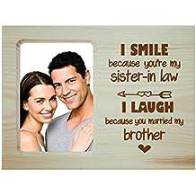 Yaya Cafe Anniversary Gifts for Bhaiya Bhabhi Funny Teasing I Smile I Laugh Engraved Wooden Photo Frame for Table