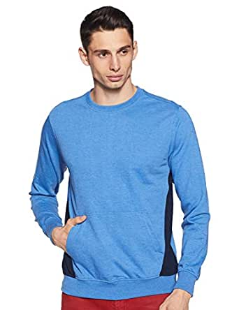 Amazon Brand - Symbol Men's Cotton Sweatshirt (AW19MNSSW51_Aster Blue_L)