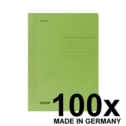Original Falken 100er Pack Schnellhefter. Made in Germany. Aus Recycling-Karton für DIN A4 kaufmännische und Behördenheftung grün Blauer Engel Hefter ideal für Büro und Schule