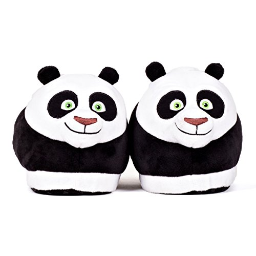 Sleeper'z Chaussons peluche Po - Kung Fu Panda - Homme Femme - Original Confortable Chaud Antidérapant - Officiel DreamWorks - Pointure 42-44 (XL)