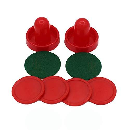 Pudincoco Standard Mini Air Hockey Ersatz 60/76/96 mm 2 Pusher Goalies 4 Pucks Filzset für Spieltische Ausrüstung (rot)