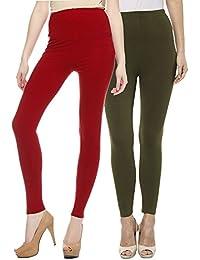 Sakhi Sang Leggings Pack of 2 : Deep Red & Olive Green