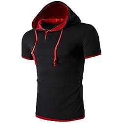 Tefamore Camiseta Sudadera Con Capucha De Los Hombre De Manga Corta De Moda De Verano (XXXXXL, Rojo 2(Como imagen mostrada))