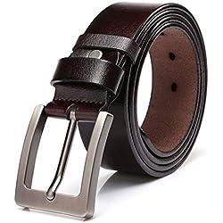 """KeeCow Cinturones de Cuero,Correa de Hebilla de Pin de Aleación Para Jeans,Trajes, Ropa Informal y Formal,Café/Negro,Se Ajusta a Una Cintura De 48 Pulgadas (125CM ( Ci.39""""-44"""" ), Marrón)"""