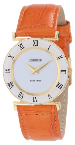 Jowissa Roma Colori Women's Quartz Watch with White Dial Analogue Display and Orange Leather Strap J2.032.M