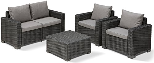 Allibert Lounge Sofa, Balkon California, 141 x 68 x 72 cm, Lounge Sofa, Rattan, graphit/panama cool grau - 3