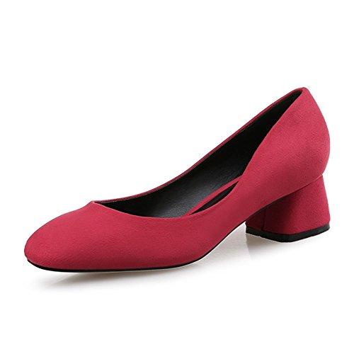 Damen Pumps Slip On Eckig Arbeitschuhe Blockabsatz Nubukleder Niedrige Einfache Schuhe Rot