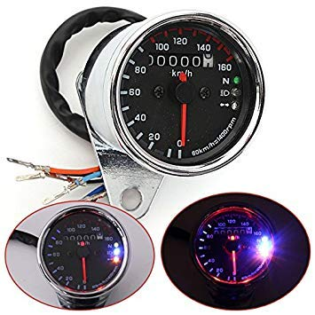 Casavidas Universal Motorrad LED Dual Odometer Speedometer Gauge KMH