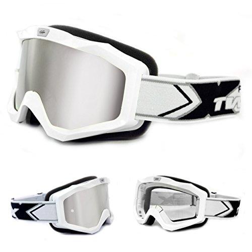 TWO-X EVO V2 Crossbrille Weiss Silber verspiegelt MX Brille Motocross Enduro Spiegelglas Motorradbrille Anti Scratch MX Schutzbrille
