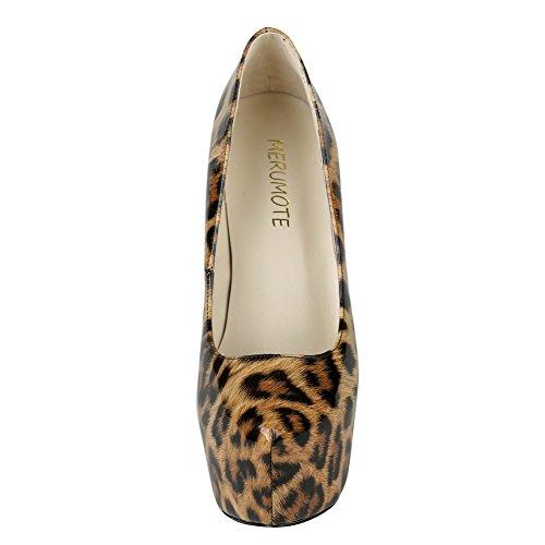 MERUMOTE - Scarpe con Plateau donna Leopard
