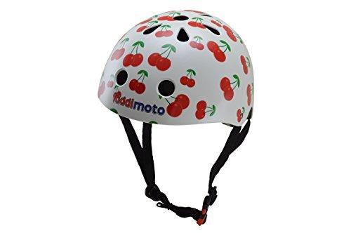 kiddimoto 2kmh026s - Design Sport Helm süße Kirschen Gr. S für Kopfumfang 48-53 cm, 2-5 Jahre, cherry (Fahrrad Helm Für Bell Mädchen)