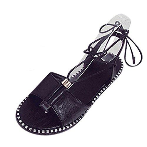 Longra Donna I nuovi pattini aperti del piede della punta dei sandali aperti della punta dei pattini allentano i pattini piani Nero