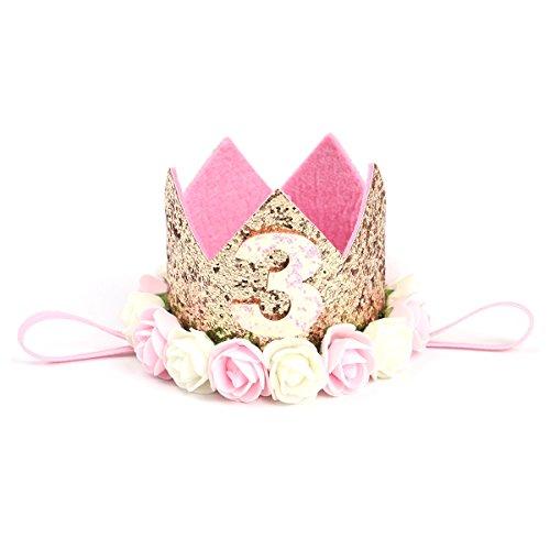 YeahiBaby Baby Krone 3 Jahr Geburtstag Baby Haarband Stirnband Haarschmuck Prinzessin (Golden) -