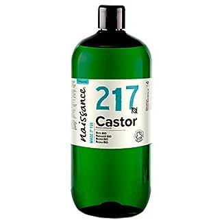Naissance Aceite de Ricino BIO 1 Litro – Puro, natural, certificado ecológico, prensado en frío, vegano, sin hexano, no OGM – Hidrata y nutre el cabello, las cejas y las pestañas