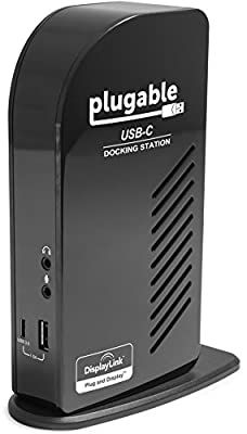 Plugable USB-C Triple Display Docking Station with Charging Support/Power Delivery for Specific Windows USB Type-C and Thunderbolt 3 Systems by Plugable