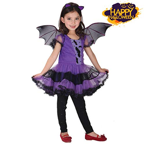 Preisvergleich Produktbild Saihui Halloweenkostüm, Fledermaus Kostüm für Mädchen Halloween Karneval Party Kleid / 2~15 Jahr Alt (Lila,  5~7 Jahr Alt)
