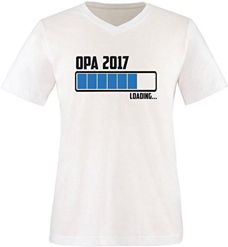 EZYshirt® Opa 2017 Herren V-Neck T-Shirt Weiss/Schwarz/Blau