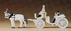 Preiser 79479 Pr79479 Horse Drawn Wedding Coach White W/Rider, Bride & Groom N Scale Models