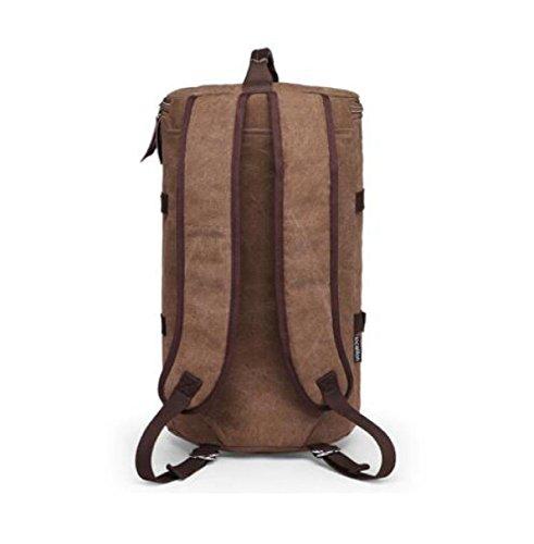Männer Leinwand Reise Rucksack Schulter Tasche Für Camping Bergsteigen Brown