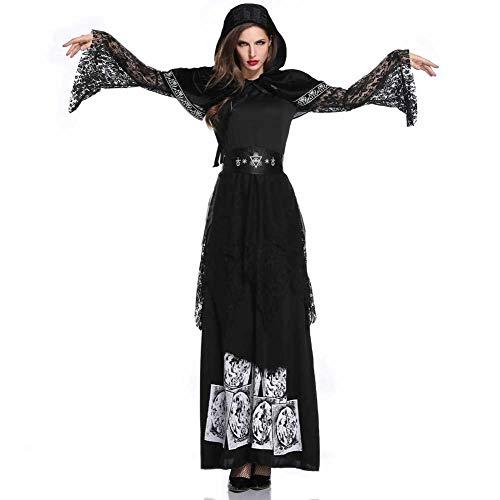 GLXQIJ Böse Deluxe Damen Hexe Halloween Märchen Kostüm Kapuze Robe Kostüm Mit - Deluxe Böse Hexe Kostüm