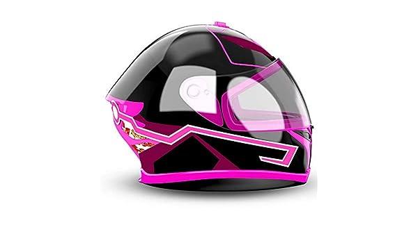 Bianco personalit/à Moda DIY Cold Light Night Riding Signal Luminoso Modificato Strip Sticker Rosa Casco da Moto LED Light 2PCS Rosso