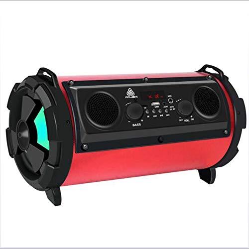 GNAIQUY Enceinte Bluetooth Intelligent-Lumières colorées Super Veille Basse 15W Carte Multifonction Son FM Support Disque U, Carte TF, Carte SD,Red