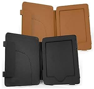 DURAGADGET 2 in 1 - Schutzhüllen im Buch Stil - maßgefertigt - für den Amazon Kindle eReader (Schwarz / Braun)