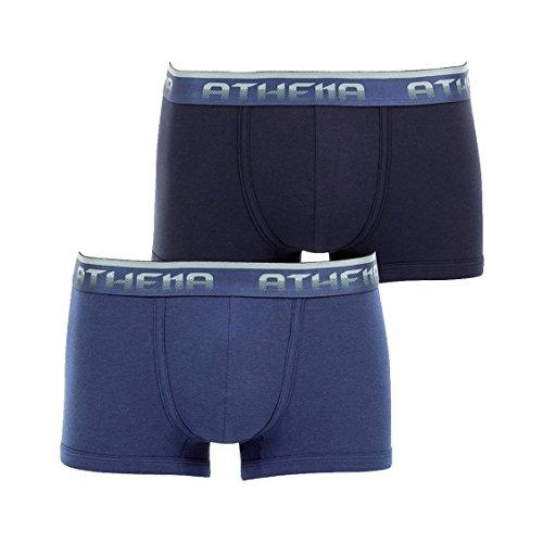 lot-de-2-boxers-athena-coupe-courte-en-jersey-de-coton-et-modal-stretch-bleu-marine-et-bleu-petrole