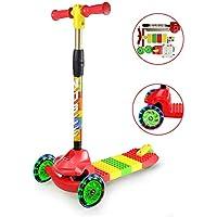 Fvino Roller Scooter Kind Scooter 3-Rad Kinderroller DIY Spleißen Roller Einstellbare Höhe Dreiradscooter mit für 3-10 Jahre alte Jungen und Mädchen, leicht zu erlernen