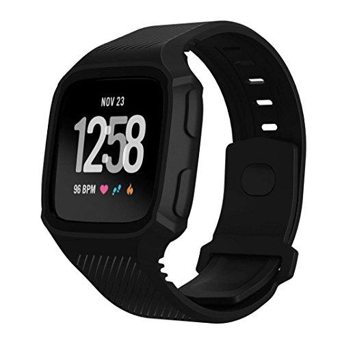 squarex Rugged Schutzhülle mit Silikon Handschlaufe Bands für Fitbit Versa Armbanduhr, damen, Schwarz, AS - Iphone Kratzer-entferner Für