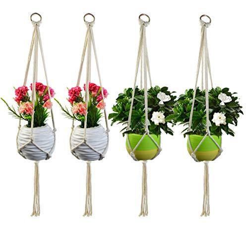 Jerbro 4 Stück Makramee Blumenampel Baumwollseil Hängeampel Blumentopf Pflanzen Halter Aufhänger für Innen Außen Decken Balkone Wanddekoration - 80cm / 31.5 Zoll